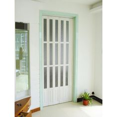 Interior Decorative PVC Accordion Folding Door Walnut Color With Glass